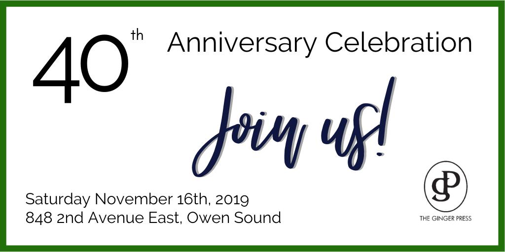 Ginger Press Celebrating 40th Anniversary